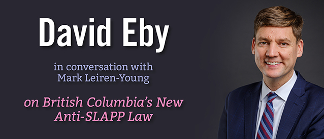 David Eby in conversation with Mark-Leiren-Young