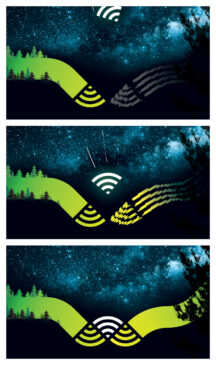 Conceptual illustration of the digital divide, using a WiFi symbol and a starlit northern sky.