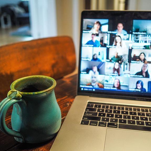 computer screen displaying a virtual meeting